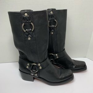Frye Harness Black Leather Boots
